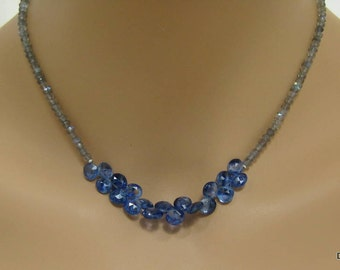 Labradorite Rondelle Necklace with Kyanite Briolettes in Sterling Silver