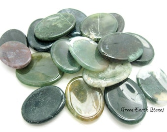 ONE Moss Agate  Worry Stone, Crystals, Palm Stone, Crystals and Stones, Polished, Rock Hound, Meditation, Stress Relief,