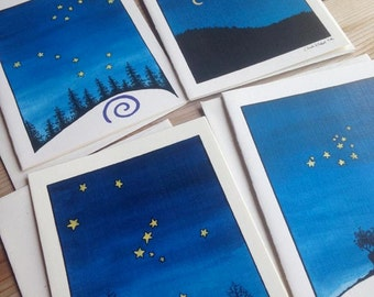 Night Sky Notecards - set of 4 blank cards - winter favorites!
