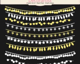 ON SALE String Lights clip art, Christmas Lights clip art, Christmas Ornament clip art, digital clipart, instant download