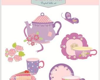 ON SALE clip art, Digital clip art. teapot, tea party, tea party 3, Instant download clip art