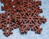 Wood Snowflake Brown 38mm - 2pc