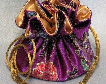 Jewelry Drawstring Travel Tote---Organizer Pouch---Purple & Gold Floral Satin Brocade---Medium Size