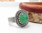 Clearance Chrysoprase Ring, Sterling Silver, Bezel Set, Green Gemstone Ring, Fine Jewelry, Crown Setting, Size 7.5