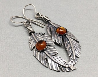 Sterling Silver Feather Earrings - Amber - Brownish orange - Western Dangle Earrings - Boho feather Jewelry