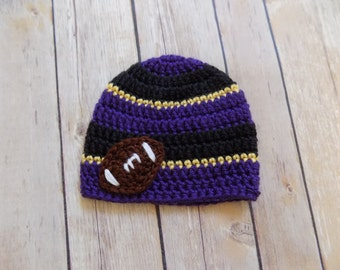 Purple Baby Football Hat, Purple Black Gold Football Hat, Baby Football Beanie, Crochet