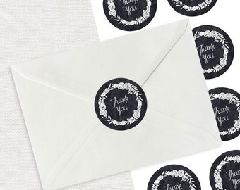 "floral wreath thank you label - black chalk effect printable sticker - 2"" round envelope seal, wedding thank you, shop branding, business"