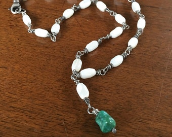 Vintage Mother of Pearl Beads with Turquoise Dangle Sterling Silver Wire Wrapped Necklace