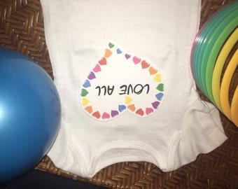Rainbow Hearts Lova All Onesie/Bodysuit/T-Shirt for Baby