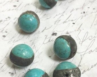 Soldered gemstone Beads Soldered Turquoise Howlite Pendant by Clay Designs by glee altered art supplies Jewelry Earring component 1 pc