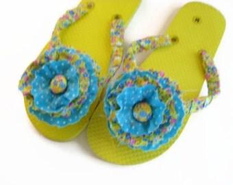 Yellow Blue Flower Decorated Flip Flops Women