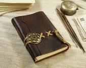 medieval journal notebook in dark chocolate brown leather