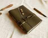 Free personalization, General - Leather Journal, Military Notebook, Army Fashion Khaki Diary in Vintage Style with Old Paper Parchment Pages