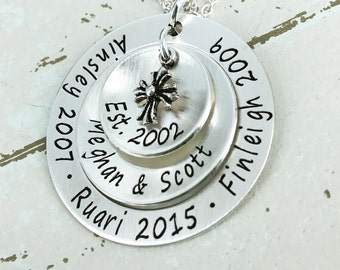 "Personalized family necklace - Personalized 1 1/4"" loop w 5/8"" and 7/8"" domed discs and antique cross charm - Personalized Mother Necklace"