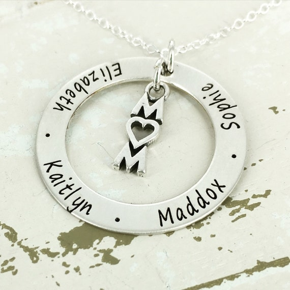 "1 1/4"" personalized mother loop necklace with mom love charm - Mother Jewelry - Personalized Necklace - Engraved Jewelry - Mother Necklace"