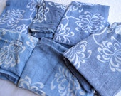 Vintage India Tablecloth Remnant Scraps - Gauzy Blue and White Floral - 6 Pieces