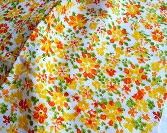 Vintage Fabric - Orange and Yellow Floral Linen - By the Yard