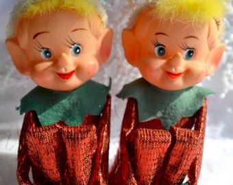 Vintage Christmas Ornaments - Knee Hugger Elf Pair - Red Metallic Elves Fur Hair