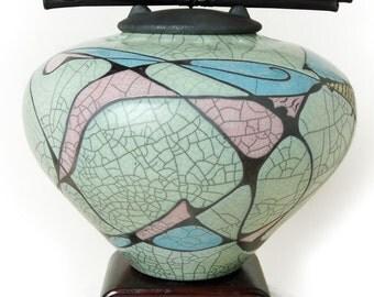Raku Ceramic  Decor Urn,  COUPLES , DC series