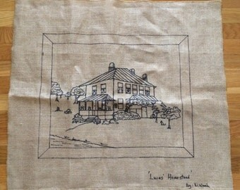 Large Handpainted Needlepoint Homestead Canvas