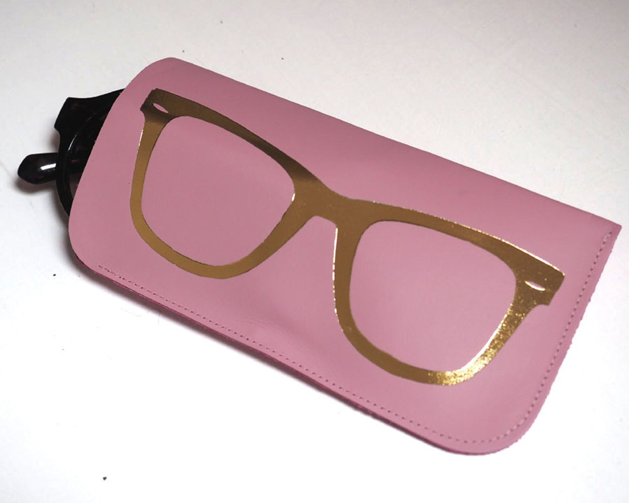 pink and gold leather sunglasses gold glasses print