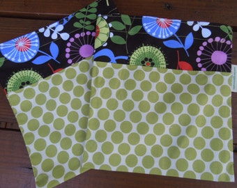 Reusable sandwich bag - reuse sandwich bag - fabric sandwich bag - Floral pods and lime moon dots