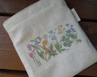 Reusable sandwich bag - Unbleached cotton sandwich bag -Reuse sandwich bag - Ecofriendly snack bag  Wildflowers on natural unbleached cotton