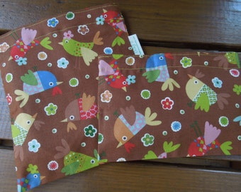 ON SALE - Reusable sandwich and/or snack bag - Eco friendly reusable sandwich and snack bags - Tweet tweet on chocolate