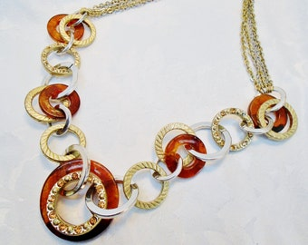 Vintage Vtg Ann Taylor Loft Tortoise Shell Necklace Choker Crystals Rings Multi Strands Bridal Jewels Runway Retro Chic Statement