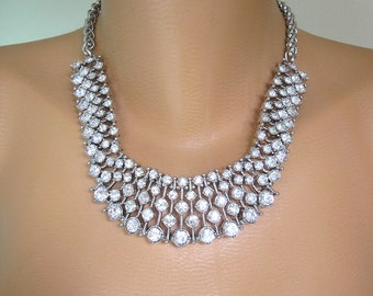 Crystal Statement Necklace, Bridal Necklace, Great Gatsby, Art Deco, Rhinestone Collar, Diamante Choker, Wedding Jewelry, Upcycled, Prom