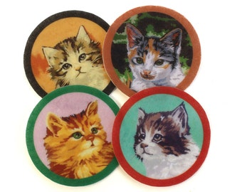 Paint by Number Cat Patch, Wool Felt Patch, sold seperately, mix and match, iron on, sew on, jacket patch, backpack badge