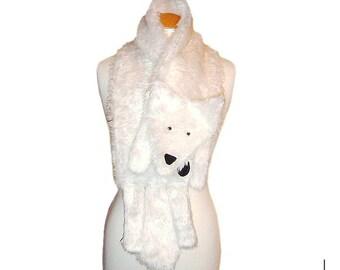 Plush Fun Fox Stole pure white faux fur animal scarf
