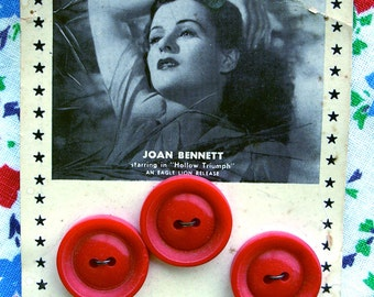 Vintage Prevue Movie  Buttons on Original Card -- RARE --  Joan Bennett - 3 RED  Buttons