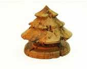 """Rustic Turned Christmas Tree in Spalted Maple Wood 3-1/2"""" Tall - Item 433"""