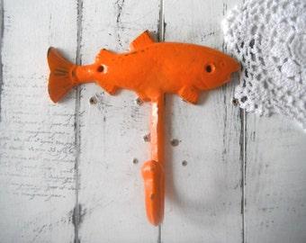 bright orange fish hook key hook coat hook wall hook nursery decor cottage nautical decor rustic home decor towel hook bathroom decor