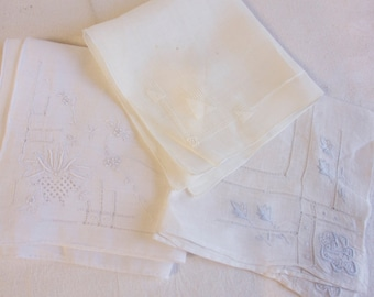 Vintage 1950s white Floral Handkerchiefs Lot of three