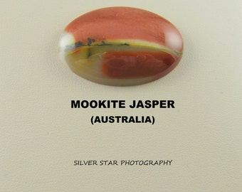 Mookite Jasper Designer Oval Cabochon with Dendrites for Jewelry Artisans.