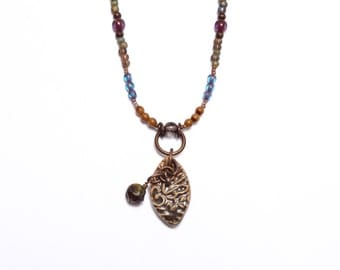 Espresso.. Paisley Petal, Handcrafted Art Bead, Beaded Necklace cabn36
