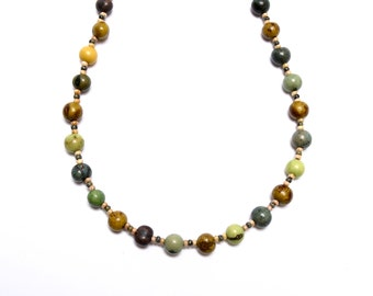 Shades of Green, Dyed Acai, Casual, Summer Beach Boho Necklace