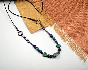 Boho Sling.. Jewel, Purple, Teal, Glass and Leather, Boho Sling, Long Necklace, cbwsn53