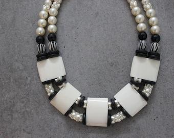 Stunning Statement Beaded Modern Tribal Collar Necklace with Bone, Pearls in Black, Bone, Cream