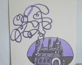 Single Letterpress Postcard Castle