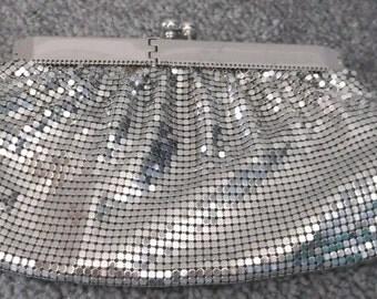 Silver Mesh Small Clutch With Rhinestone Kiss Clasp Free Ship USA