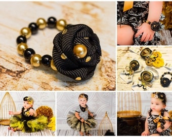 Black and Gold Rosette Bracelet, Glass Bead Pearl Beads w Shiny Polka Dots fabric flower, little baby girl photo prop, baby shower gift