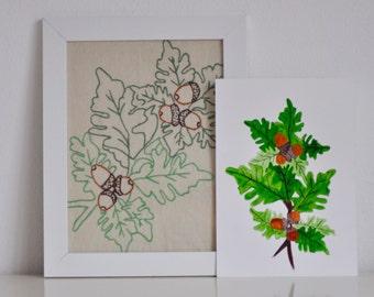 Oak branch acorn watercolor & embroidery