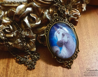 TEMPEST - Unicorn Fantasy art pendant necklace charm by Dianita - Mythical white horse with cloudy background.
