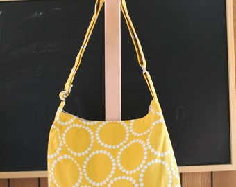 Slouchy Hobo Tote with Adjustable Strap In Yellow Pearl Bracelets