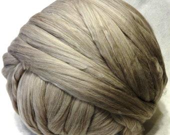 Wool Roving - Taupe Merino Wool Roving - 8 oz - Light Brown Roving, Light Brown Wool - Old Dye Lot
