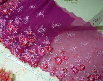 Embroidered lace, Lace trim, tulle lace, Wedding lace, Girls tutu, Red lace, 2 1/2 yards VT137
