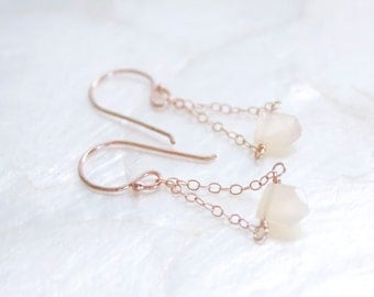 Pale Peach Moonstone and 14kt Rose Gold Fill Pennant Earrings - Eco Friendly Recycled Nickel Free Gold Ready to Ship